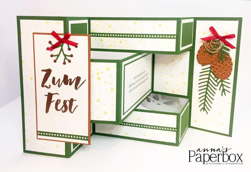Weihnachtskarte mit Produkten von Stampi' Up! - Tannenzauber, Weihnachten daheim